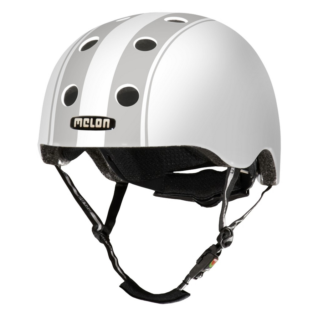 Casque Melon Stripe Tease Double Blanc