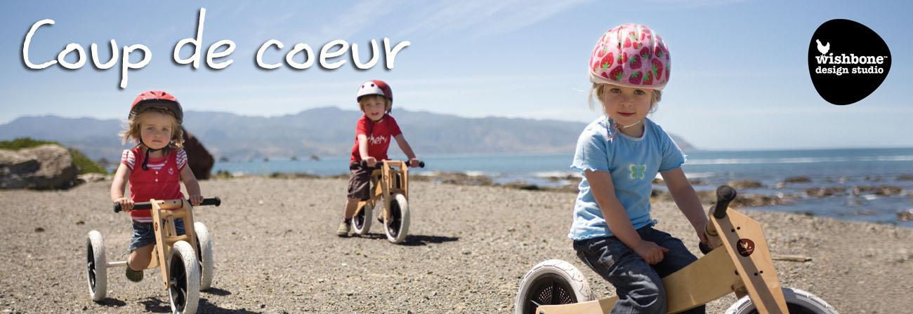 Draisienne évolutive en tricycle de 12 mois à 6 ans en bois ou plastique recyclé